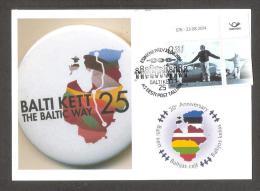 Baltic Chain 25th Anniv Estonia 2014  Stamp Private Maxicard - Estonie