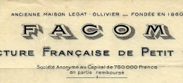ENTETE FACTURE FACOM MANUFACTURE FRANCAISE DE PETIT OUTILLAGE 1933 B.E. V. HISTORIQUE - France