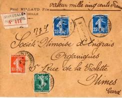 TB 349 - TB Type Semeuse Sur Lettre Chargée OB MARSEILLE - PL - SAINT - FERREOL Pour NIMES - Marcophilie (Lettres)