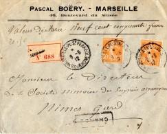 TB 350 - TB Type Semeuse Sur Lettre Chargée OB MARSEILLE - PL - SAINT - FERREOL Pour NIMES - 1877-1920: Periodo Semi Moderno
