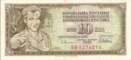 YOUGOSLAVIE 10 DINARA 1978 N° BB1274214 ETAT COURANT - Yougoslavie