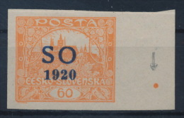 **Czechoslovakia East Silesia Ostschlesien 1920 Michel 16A Margin Point MNH - Neufs
