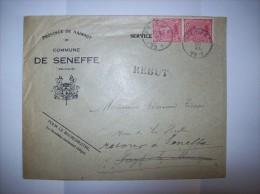 Lettre commune de Seneffe ( Service d'�tat ) vers Fayt lez Manage - Rebut ,Retour ,Inconnu ( facteur) -  2 scans