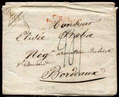 73027 - Enveloppe Et Courrier  1822 De MONTEVIDEO, MP Rouge COLONIES/PAR LE HAVRE, Taxe 24 Par - Poste Maritime