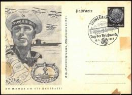 """Propaganga-Karte, Ganzsache P 242 / 06 """"U-Boot mit Wasserflugzeuge"""", ESt u. SoSt """"Tag der Briefmarke"""" Schwerin 12.1.41"""