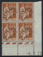 Préo N°72 - Type Paix 60c - Coin Daté 1.38 - Préoblitérés