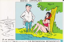 CPSM ALEXANDRE VERTES CAMPAGNE FEMME SEINS NUS JE NE SAVIONS POINT QUE  C ETAIT COMME CA LA RESPIRATION ARTIFICIELLE - Alexandre