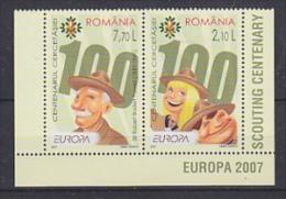 Europa Cept 2007 Romania 2v From M/s ** Mnh (17297) - Europa-CEPT