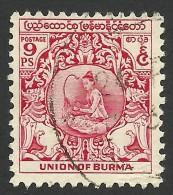 Burma, 9 P. 1949, Sc # 104, Used - Myanmar (Burma 1948-...)