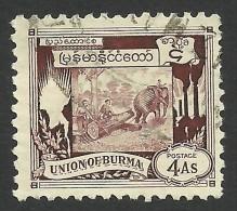 Burma, 4 A. 1949, Sc # 110, Used - Myanmar (Burma 1948-...)