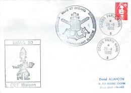 POSTE NAVALE   BATEAU AVISO COMMANDANT BLAISON  ZMAG MERS ET OCEANS  PARIS  26/11/90 - Marcophilie (Lettres)