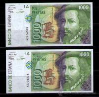 PAREJA DE BILLETES DE 1000 PESETAS DE 1992 SIN CIRCULAR - PLANCHA - CONSECUTIVOS - [ 4] 1975-… : Juan Carlos I
