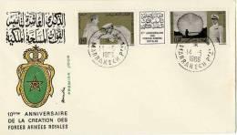 MAROC  -  10° ANNIVERSAIRE DE LA CREATION DES FORCES ARMEES ROYALES  1966  -  ENVELOPPE 1° JOUR - Morocco (1956-...)