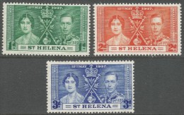 St Helena. 1937 KGVI Coronation. MH Complete Set. SG 128-30 - Saint Helena Island