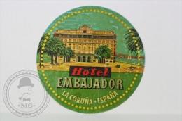 Hotel Embajador, La Coruña - Spain - Original Small Hotel Luggage Label - Sticker - Hotel Labels
