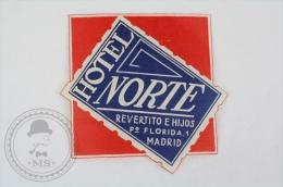 Hotel Alexandra, Madrid - Spain - Original Small Hotel Luggage Label - Sticker - Hotel Labels