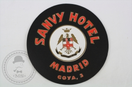 Sanvy Hotel, Madrid - Spain - Original Small Hotel Luggage Label - Sticker - Hotel Labels