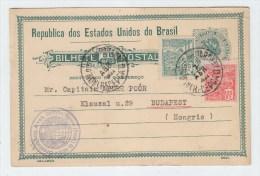Brazil/Hungary UPRATED POSTAL CARD 1922 - Brazil