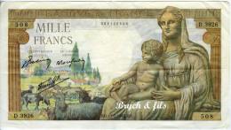 1000 FRANCS  11/02/1943 - 1 000 F 1942-1943 ''Déesse Déméter''