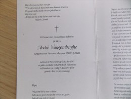 Doodsprentje André Vangeenberghe  Moorslede 2/10/1943 Roeselare 9/12/1994 ( Marianne Brouckaert ) - Religion & Esotericism