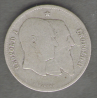 BELGIQUE / BELGIO - 1 FRANC - LEOPOLDO II (1880) AG / 50 Anniversaire Indipendence - 1865-1909: Leopoldo II