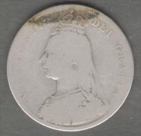 GREAT BRITAIN / GRAN BRETAGNA - QUEEN VICTORIA - 1 SCHILLING ( 1887 ) AG SILVER - 1816-1901 : Coniature XIX° S.
