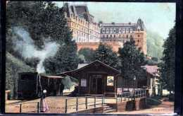 73 AIX LES BAINS GARE DE DEPART DU MONT REVARD ANIMEE  TRAIN RARE - Aix Les Bains