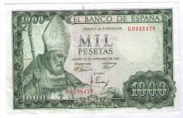 BILLETE DE 1000 PESETAS DE 1965 - USADO MUY BONITO - [ 3] 1936-1975 : Regime Di Franco