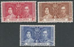 British Virgin Islands. 1937 KGVI Coronation. MH Complete Set. SG 107-9 - British Virgin Islands