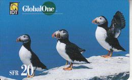 SWITZERLAND - Birds, IDT/Global One prepaid card SFR 20, exp.date 11/04, used