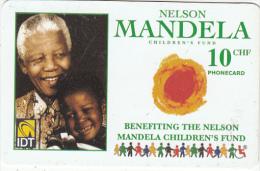 SWITZERLAND - Nelson Mandela, IDT prepaid card CHF 10, exp.date 05/07, used