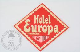 Hotel Europa, Alessandria - Italy - Original Hotel Luggage Label - Sticker - Hotel Labels
