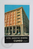 Hotel Augustus Minerva, Cuneo - Italy - Original Hotel Luggage Label - Sticker - Adesivi Di Alberghi