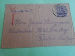 Berlin 13 f�vr 1916 militaria guerre 14-18 robrpost brief SP 21  Deutsche reich  Allemagne Cover letter > h�tel Ermitage