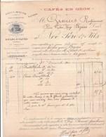 FACTURE NOE PERE & FILS à AVIGNON (VAUCLUSE) : HUILERIE - SAVONNERIE - CAFES EN GROS  (1900) - 1900 – 1949