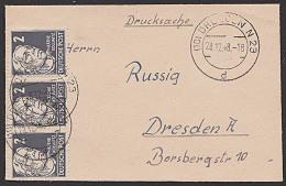 SBZ 2 Pf.  Käthe Kollwitz Im 3er-Streifen Auf Drucksachen-Brief Im Miniformat 1948 Mi. 212(3) - Zona Soviética