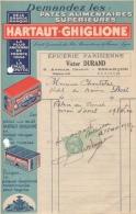 Facture 1927 Pâtes Alimentaires Supérieures Hartaut Ghiglione Epicerie Parisienne Victor Durand 9 Avenue Carnot Besançon - Levensmiddelen