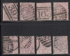 Great Britain Used Scott #67 2 1/2p Victoria Lot Of 8 Stamps Various Plates, Positions, Cancels - Timbres