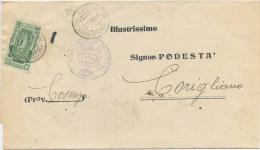 1933 ANNO SANTO C. 25 (SASSONE 346) ISOLATO SU PIEGO COMUNALE 17.11.33  TARIFFA LETTERA RIDOTTA SINDACI  (A321) - 1900-44 Vittorio Emanuele III