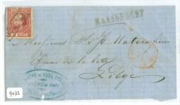 BRIEFSTUKJE Uit 1868 Van MAASBRACHT LANGSTEMPEL Naar LIEGE LUIK NVPH 8 + FIRMASTEMPEL (9032) - Storia Postale