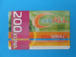 DenCall -  200. Kuna  ( Croatia Prepaid Card ) * Remote Card * International Calling * Dencall Premium - Croatie