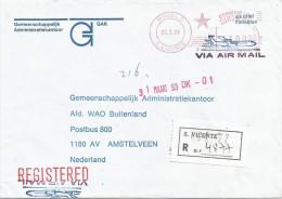 """Cabo Verde 1993 Mindelo Meter Franking Pitney Bowes (MV) """"5000"""" XIV 06 Registered Cover - Cape Verde"""
