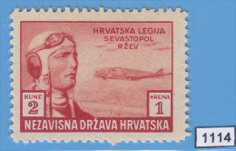 CROATIA NDH 1943; Mi: 108; MH; Croatian Legionars, Pilot At Sevastopol - Croatie