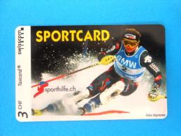 SPORTCARD - ALPINE SKIING ( Switzerland special issue card without chip ) Ski Alpin Esqui Taxcard Swisscom Sporthilfe.ch