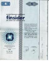 FINSIDER 1 AZIONE - Certificato Azionario 1968 - SOCIETÀ FINANZIARIA SIDERURGICA - Stock Certificate - Azioni & Titoli