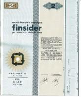 FINSIDER 2 AZIONI - Certificato Azionario 1968 - SOCIETÀ FINANZIARIA SIDERURGICA - Stock Certificate - Azioni & Titoli