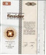 FINSIDER 5 AZIONI - Certificato Azionario 1968 - SOCIETÀ FINANZIARIA SIDERURGICA - Stock Certificate - Azioni & Titoli