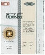 FINSIDER 10 AZIONI - Certificato Azionario 1968 - SOCIETÀ FINANZIARIA SIDERURGICA - Stock Certificate - Azioni & Titoli
