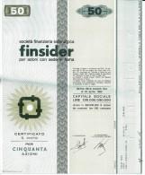 FINSIDER 50 AZIONI - Certificato Azionario 1968 - SOCIETÀ FINANZIARIA SIDERURGICA - Stock Certificate - Azioni & Titoli