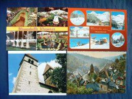 4 Postcards Germany - Wiesmoor Frauenkar Monschau Reichenau - Mountain Windmill Church Ski - Germany